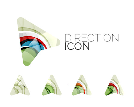 directional arrow: Set of abstract directional arrow icons, business logotype gps concepts, clean modern geometric design. Created with transparent abstract wave lines