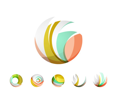 created: Set of globe sphere or circle logo business icons. Created with overlapping colorful abstract waves and swirl shapes