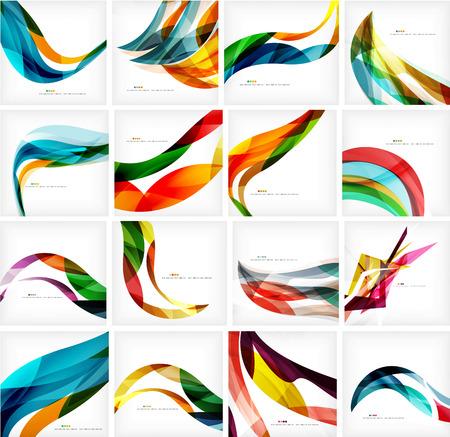 Conjunto de colores en movimiento que fluye resumen antecedentes. Smooth diseños onda futurista. Negocios, mensaje de la tecnología, la presentación o la identidad Ilustración de vector