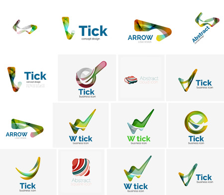 ok sign: Set of tick ok, cloud or arrow concept icons. Created with swirls and flowing wavy elements. Business, app, web design logo template Illustration