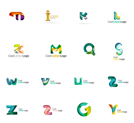 any: Set of colorful abstract letter corporate logos made of overlapping flowing shapes. Universal business icons for any idea or concept. Business, app, web design symbol template
