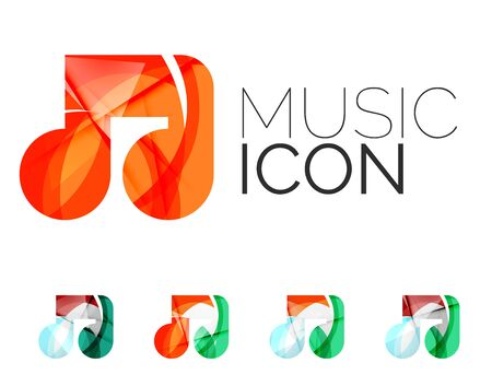 business concepts: Set of abstract music note icon, business logotype concepts, clean modern geometric design. Created with transparent abstract wave lines