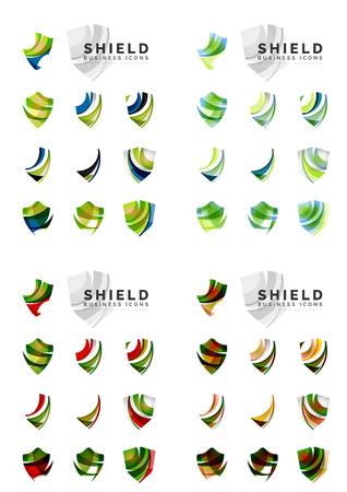 escudo: Conjunto de diseños de marca logotipo de la empresa, iconos concepto de protección escudo aislado en blanco Vectores