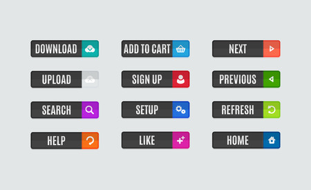 Set of modern flat design website navigation buttons. Rectangle shape. Help like search download upload setup sign up add to cart next previous refresh home icons Ilustrace