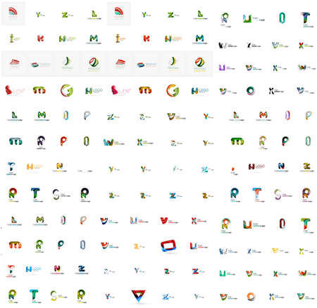 Mega set of geomeric letter company logos  Corporate business