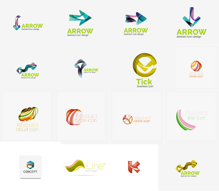 company icon: Set of new universal company logo ideas, geometric business icon collection - alphabet letters, swirl waves and other shapes