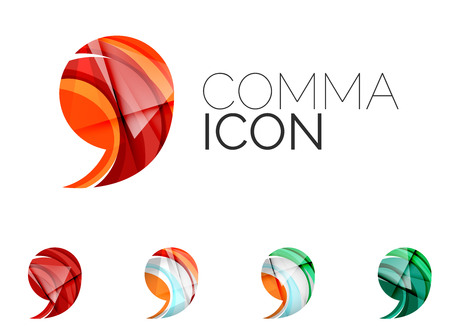 mention: Set of abstract comma icon