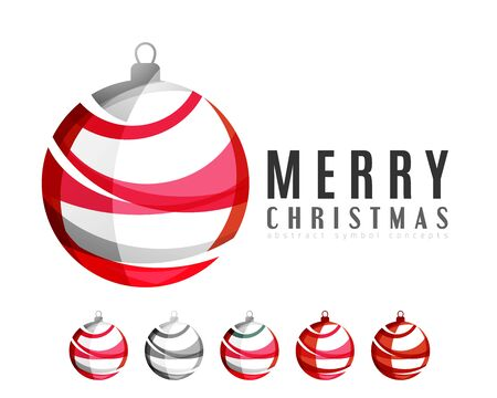 red ball: Set of abstract Christmas ball icons, business logo concepts, clean modern geometric design. Created with transparent abstract lines