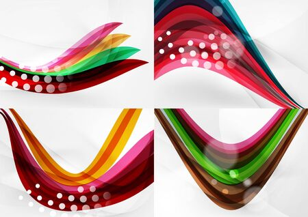 flares: Set of abstract backgrounds. Curve wave lines with light and shadow effects, rainbow style stripes and flares