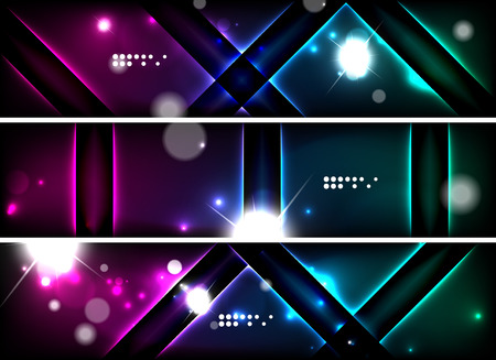 dark backgrounds: Set of banner, header backgrounds with place for your message. Glowing color neon light lines in dark space. Advertising layouts.