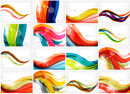Set van kleurrijke vloeiende beweging abstracte achtergronden. Gladde futuristische golf lay-outs. Business, technologie boodschap, presentatie of identiteit Stock Illustratie