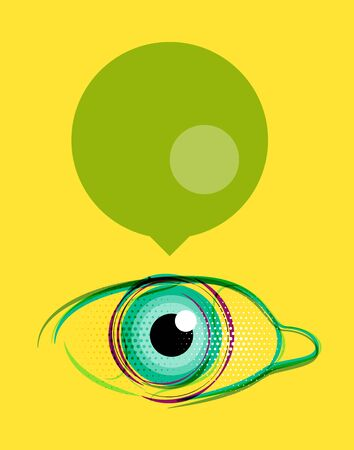 Abstract poster, stylized eye with empty speech bubble. Modern design layout for your message Illustration