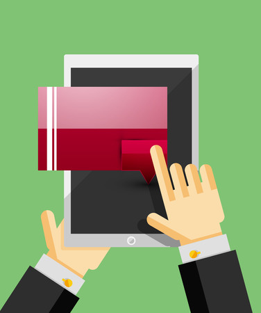 dialog box: Businessman hands on mobile tablet with web dialog box. Communication, mobility or internet service concept