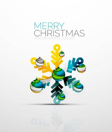chrismas card: Merry Chrismas snowflake decorated with balls, holiday concept symbol. Element of greeting card.