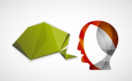 beatiful: Human head with origami blank speech bubble. Modern abstract communication concept