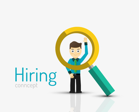 hiring: Hiring flat design concept. Man standing on glossy surface and magnifying glass