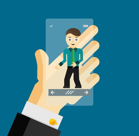 virtual assistant: Human hand holding transparent screen smartphone with virtual assistant - businessman. Hi-tech flat design concept