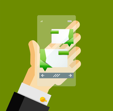 man holding transparent: Businessman hands on mobile phone with web dialog box. Communication, mobility or internet service concept Illustration
