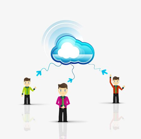 cloud server: Cloud computing storage for group of people in various poses, flat design Illustration