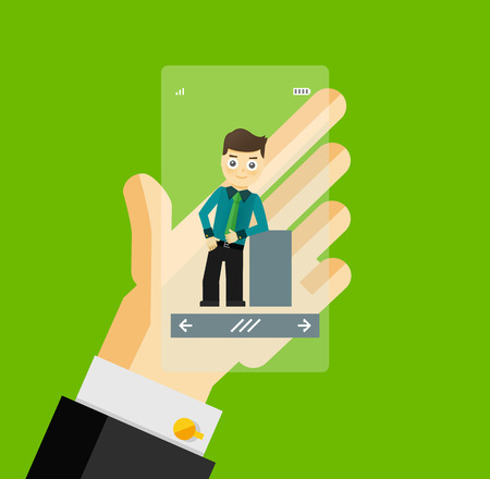flat screen: Human hand holding transparent screen smartphone with virtual assistant - businessman. Hi-tech flat design concept