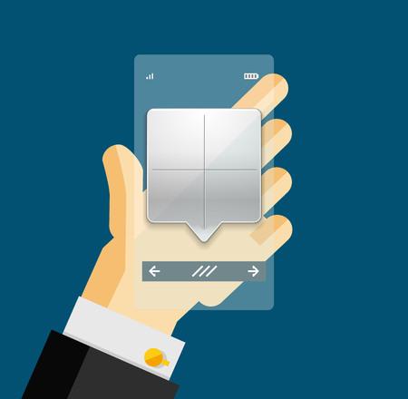 man holding transparent: Businessman hands on mobile phone with web dialog box. Communication, mobility or internet service concept Illustration