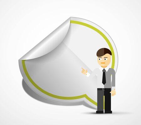 speech cloud: Young businessman with speech cloud. Modern cartoon presentation concept