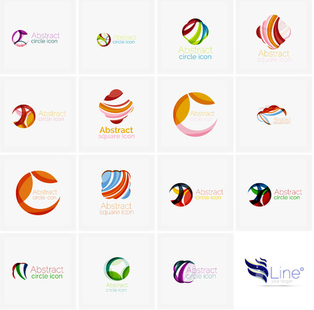 abstract swirls: Set of abstract wavy elements. Circles, swirls and waves with copyspace for your message. Banner advertising layouts - templates, identity logo or wallpapers