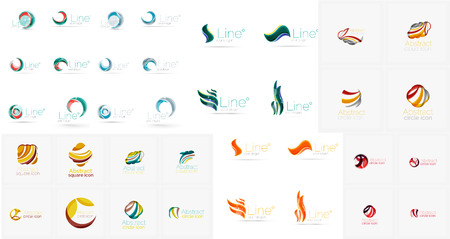 loops: Vector abstract company logos mega collection, loops, concepts swirls waves. Modern universal idea business icons isolated on white Illustration