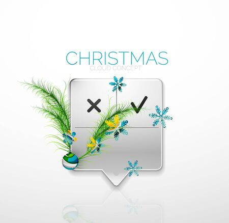speech bubble: Modern abstract speech bubble with Christmas decoration. Holiday design Illustration