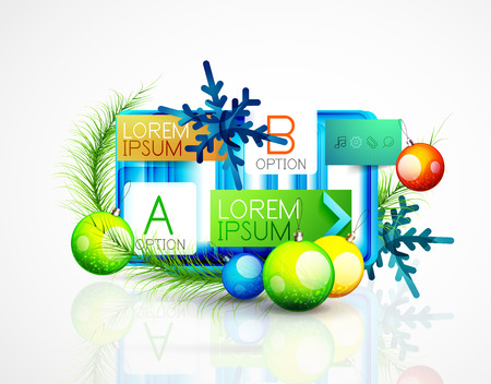 message box: Abstract web message box with Christmas decoration. Holiday concept