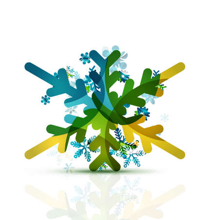 decorated: Christmas decorated modern snowflake icon. Holiday concept Illustration