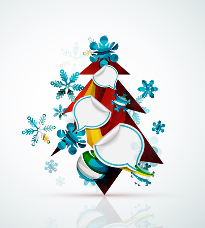 x mas background: Merry Christmas tree with stickers. Holiday concept Illustration