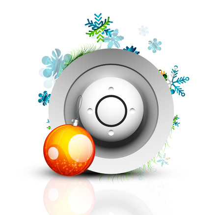 reflection internet: Christmas internet button on white background with reflection. Holiday icon concept Illustration