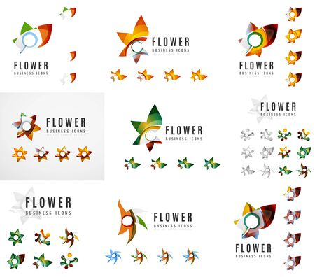 the womanly: Set of company logotype branding designs, flower blooming concept icons isolated on white