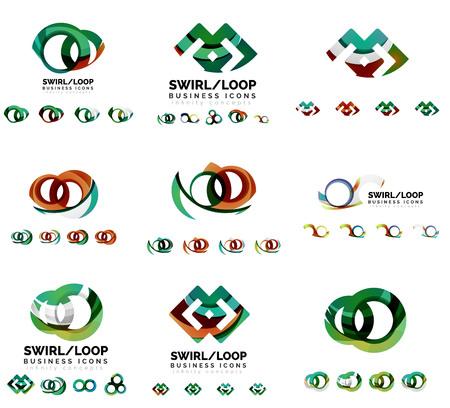 loop: Set of company branding designs, swirl infinity loop concept Illustration