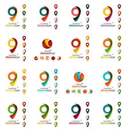 points of interest: Set of map tag icons. Business, app, web design symbol template