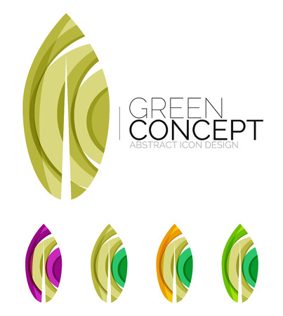 health spa: Set of abstract eco plant icons, business logotype nature green concepts, clean modern geometric design. Created with transparent abstract wave lines