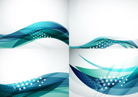 smooth background: Set of abstract backgrounds. Elegant colorful decorated lines and waves with copyspace for your message. Banner advertising layouts - templates and wallpapers