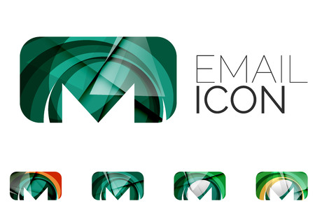 papier a lettre: Set de résumé email icon, concepts logotype de l'entreprise, de la conception géométrique moderne et propre. Créé avec des lignes transparentes d'ondes abstraites