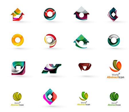 green house effect: Set of various geometric icons -  rectangles triangles squares or circles. Made of swirls and flowing wavy elements. Business, app, web design logo templates.