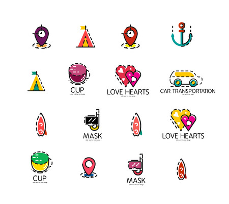 excursions: Set of abstract travel logo icons. Business, app or internet web symbols. Thin lines and colors with white