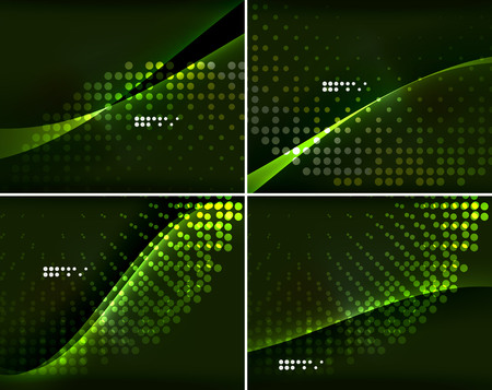 laser lights: Set of abstract backgrounds with copyspace. Glowing color neon light in dark space. Banner advertising layouts - colorful templates and wallpapers