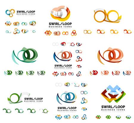 loop: Set of company logotype branding designs, swirl infinity loop concept Illustration