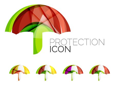 business protection: Set of abstract umbrella icons, business   protection concepts, clean modern geometric design. Created with transparent abstract wave lines