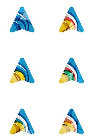 logo recyclage: Set de résumé directionnels flèches, concepts gps logotype de l'entreprise, de la conception géométrique moderne et propre. Créé avec des lignes transparentes d'ondes abstraites