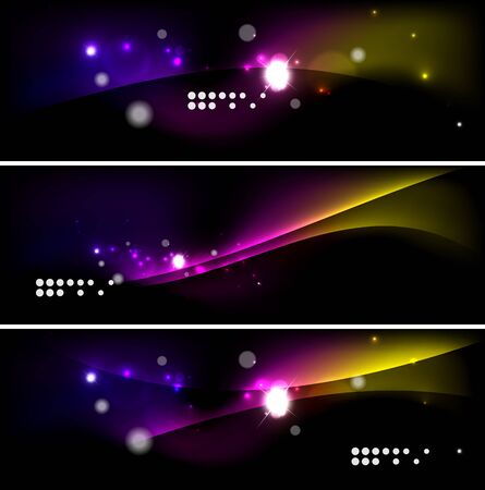 glow in the dark: Set of banner, header backgrounds with place for your message. Glowing color neon light lines in dark space. Advertising layouts.