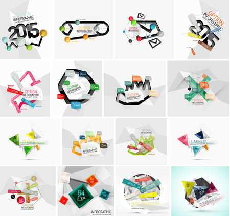 cover art: Set of various geometric abstract infographic templates. Stickers lines and other elements
