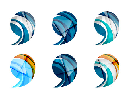 comma: Set of abstract comma icon, business  concepts, clean modern geometric design. Created with transparent abstract wave lines