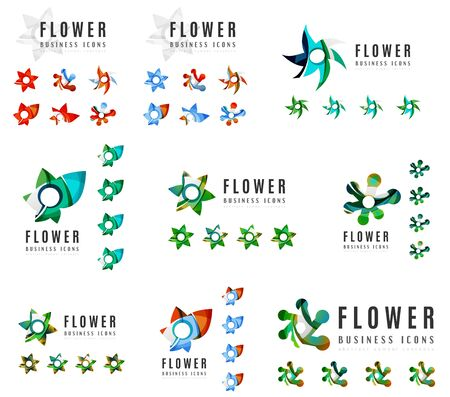 the womanly: Set of company  branding designs, flower blooming concept icons isolated on white