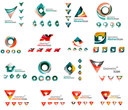 green house effect: Set of various geometric icons -  rectangles triangles squares or circles. Made of swirls and flowing wavy elements. Business, app, web design  templates.
